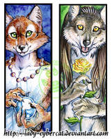 Wolf and Fox Bookmarks by lady-cybercat