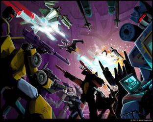 MW Thundercracker vs. Megatron by MattDrawsRobots