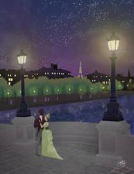 Lovers on a Paris Bridge by savivi