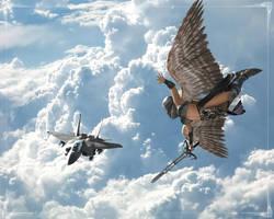 Angel vs Eagle by pumpkinman68