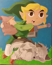 Link and Twilight pup 16 x 20 Canvas by ChupaCabraThing