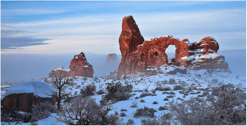 Turret Arch by Fog and Snow by tourofnature