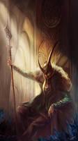Loki on the throne by agathexu