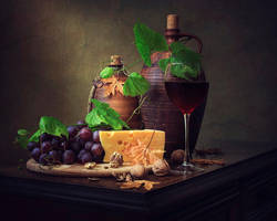 About cheese, grapes and wine by Daykiney