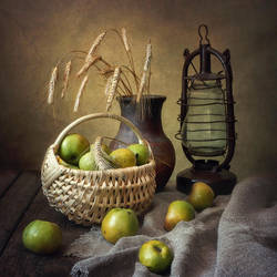 Still life with apples village by Daykiney