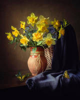 Still life with daffodils and butterflys by Daykiney
