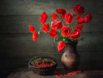 Still life with poppies and strawberries by Daykiney