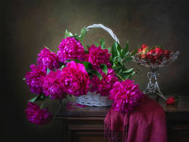 Still life with peonies and strawberry by Daykiney