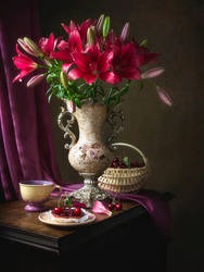 Still life with magenta lilies by Daykiney