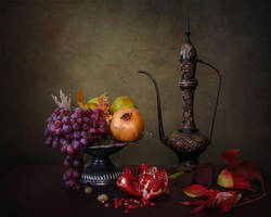 Orient still life with pomegranates by Daykiney