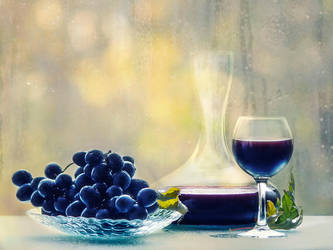 Still life with young red wine by Daykiney