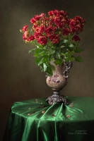 Still life with splendid bouquet of roses by Daykiney
