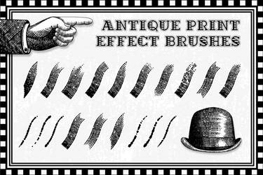 32 Antique Print Effect Brushes for Illustrator by fineolly