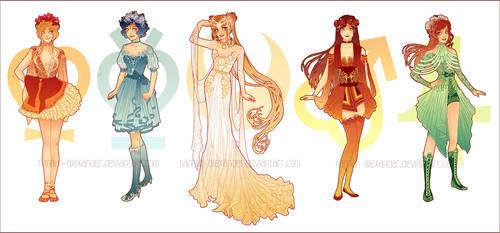 Sailor Moon: Art Nouveau Costume Designs by Hannah-Alexander