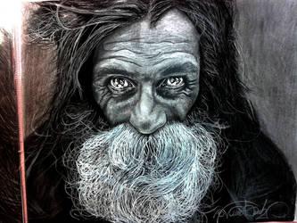 Homeless Man Fantastic Portrait by NekroGothicMaster