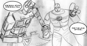Optimus Prime vs The Big Guy by ChaosBurnFlame