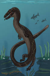 Mosasauroid for Dinalfos5 by orange-eyed-serpent