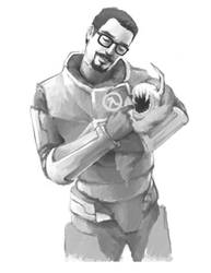 Gordon Freeman and Lamarr by JujuFei