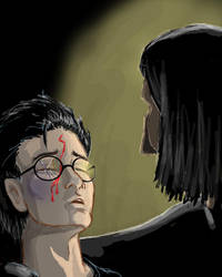 Snape Holding Harry by WolfenM