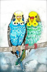 Two Birds In A Tree by ghostyheart