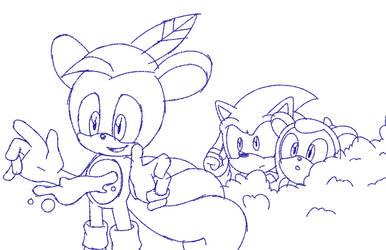 Kida and Sonic Spy on Lake by Sonicguru