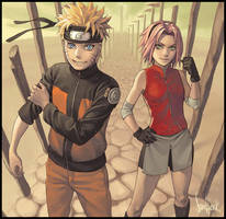 Naruto and Sakura by Sandfreak
