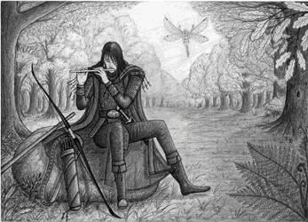 Elf - ranger with fairy - companion by Panartias