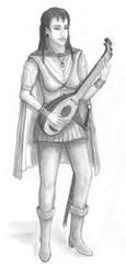 Female half-elf Bard, black and white by Panartias