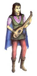 Female half-elf Bard in color by Panartias