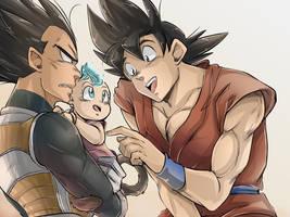 Dragonball Super - Fanart Vegeta/Goku/Bra by RedViolett