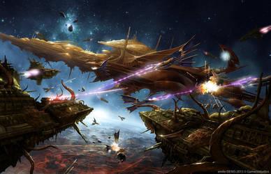Armada of Iyanden vs Plague Swarm by Trishkell
