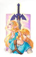 Breath of the Wild - Link and Zelda FanART by Weirdream13