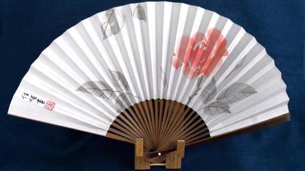 A Modern Rose, Oriental Japanese handpainted fan by catherinejao