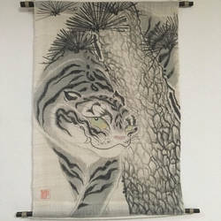 Chiraritora (Peeking Tiger) Tapestry on Hemp by catherinejao