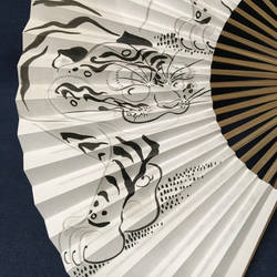 Oriental Japanese hand fan, Funny Tiger by catherinejao