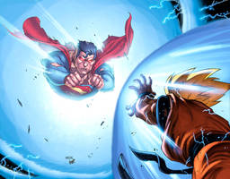 SUPERMAN vs GOKU Colors LOW by HeagSta
