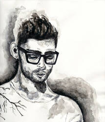 Zayn Malik - watercolour + pen by shimmeringarmour
