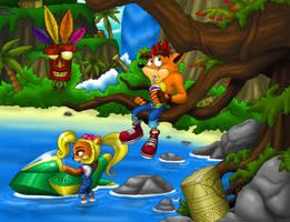 Crash Bandicoot Scene by Zerbear333
