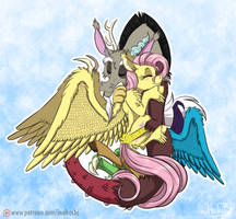 Draconequus Hug by InuHoshi-to-DarkPen