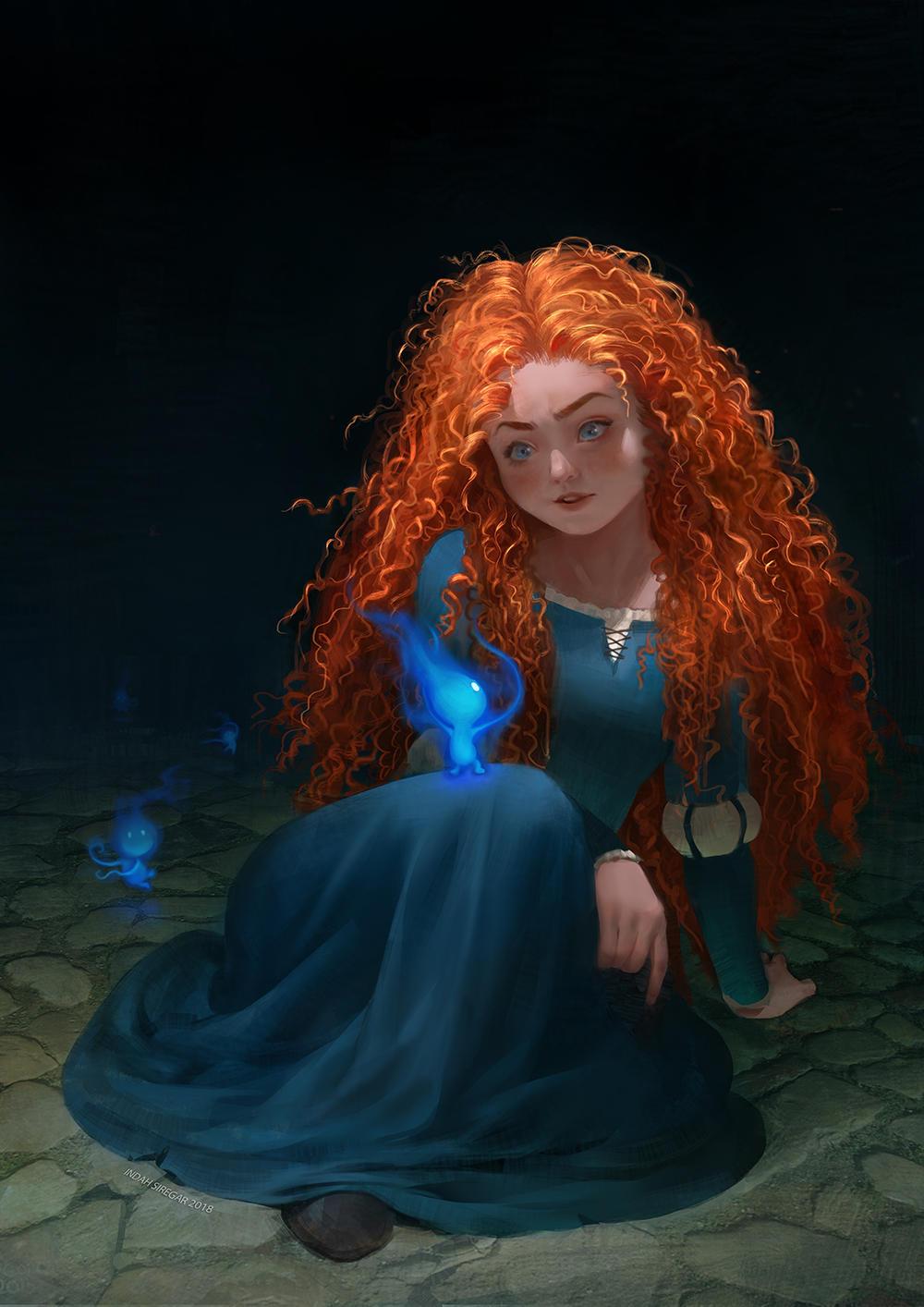 Merida and Will O The Wisps by IndahAlditha