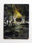 MTG - Painted SWAMP - CUSTOM Swamp Set - 3 by ETsVOXetANIMA
