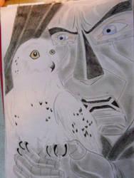 snowy owl   with doom by teazuko