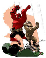 Hellboy and Roosevelt vs Nazis by caanantheartboy