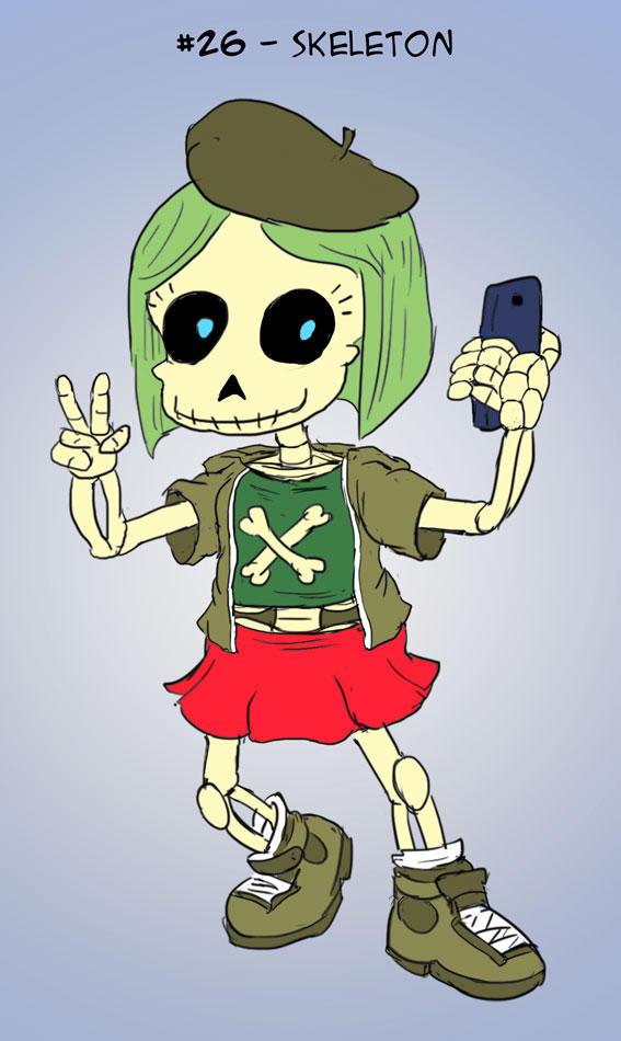 ~Monster Girl Inktober~ #26: Skeleton by Fadri