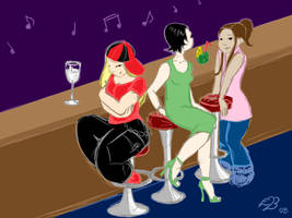 Girls at a Bar by neander
