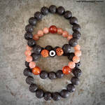 Lava Rock and Moonstone Stacking Bracelets by AnnRavenshieldArtist