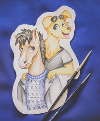 BoJack Horseman and Mr.Peanutbutter by Woonborg