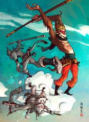 Monkey king cloudboarding... by barontieri