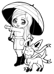 Lineart | Parasol Lady Maomi with Sylveon by Chibivi-Linearts