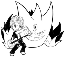 Lineart | Guitarist Rego with Mega Gengar by Chibivi-Linearts